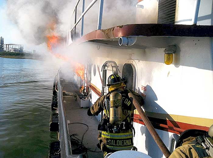 Fire on tug
