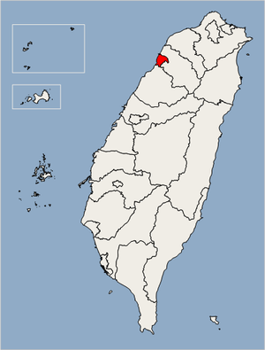 Location of Hsinchu City in Taiwan