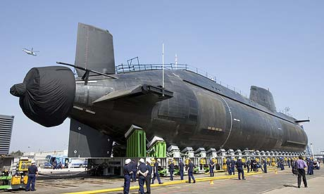 HMS Astute is launched at the BAE Systems shipyard in Barrow-in-Furness, Cumbria
