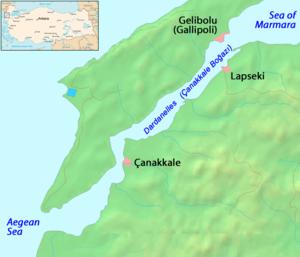 The Dardanelles, a long narrow strait dividing...