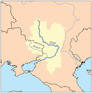 Map showing the Don and Donets rivers