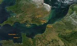 Satellite view of the English Channel