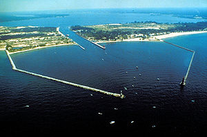 The breakwaters and harbor entrance on Lake Mi...