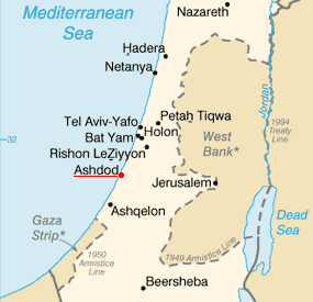 Ashdod on the map of Israel