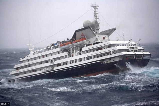 Floundering: The vessel struggles through heavy seas and 55mph winds in the Drake Passage
