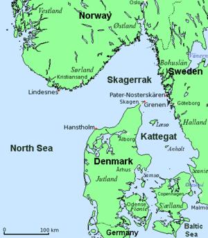 Map of Skagerrak and Kattegat (Denmark, Norway...