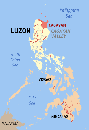 Map of the Philippines with Cagayan highlighted
