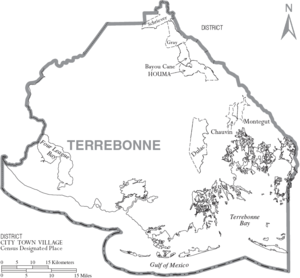 Map of Terrebonne Parish, Louisiana, United St...