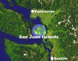 Location of the San Juan Islands