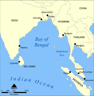 A modern map of the Bay of Bengal, a principal...