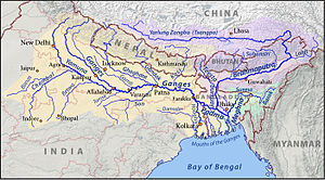 This is a map of the Ganges (orange), Brahmapu...