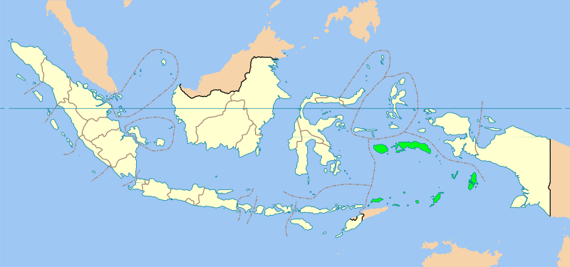 Map of the southern Maluku province, which is ...