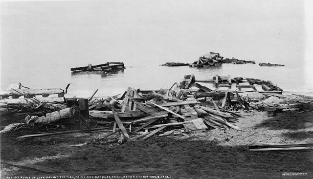 Life Saving Station at Point Aux Barques on Lake Huron was completely destroyed in the storm.