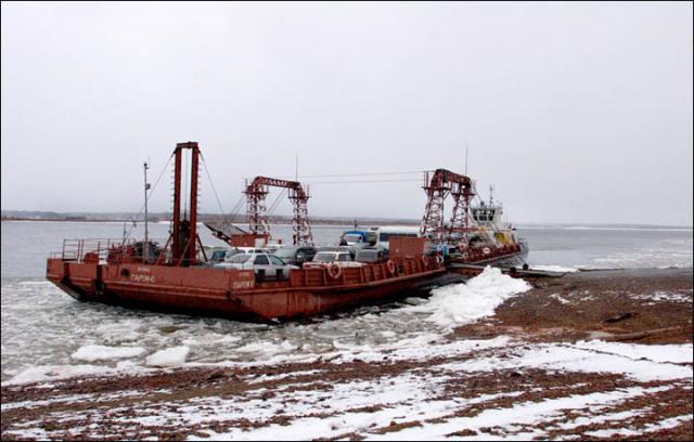 Ferry aground on Yenisei River